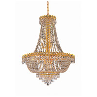 Elegant Lighting Century 12 Light Dining Chandelier in Gold with Elegant Cut Clear Crystal 1900D24G/EC