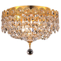 Elegant Lighting Century 3 Light Flush Mount in Gold with Elegant Cut Clear Crystal 1900F10G/EC