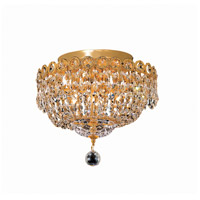 Elegant Lighting Century 4 Light Flush Mount in Gold with Swarovski Strass Clear Crystal 1900F12G/SS