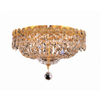 Century 4 Light 14 inch Gold Flush Mount Ceiling Light in Royal Cut