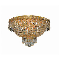 Century 4 Light 16 inch Gold Flush Mount Ceiling Light in Royal Cut