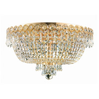 Elegant Lighting Century 6 Light Flush Mount in Gold with Swarovski Strass Clear Crystal 1900F18G/SS
