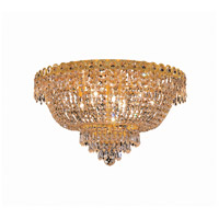 Elegant Lighting Century 9 Light Flush Mount in Gold with Swarovski Strass Clear Crystal 1900F20G/SS