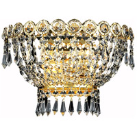 Elegant Lighting Century 2 Light Wall Sconce in Gold with Elegant Cut Clear Crystal 1900W12G/EC