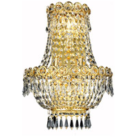 Elegant Lighting Century 3 Light Wall Sconce in Gold with Elegant Cut Clear Crystal 1900W12SG/EC
