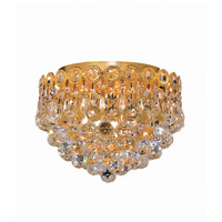 Century 3 Light 10 inch Gold Flush Mount Ceiling Light in Swarovski Strass