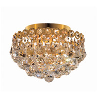 Elegant Lighting Century 4 Light Flush Mount in Gold with Royal Cut Clear Crystal 1901F12G/RC