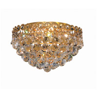 Elegant Lighting Century 4 Light Flush Mount in Gold with Royal Cut Clear Crystal 1901F14G/RC