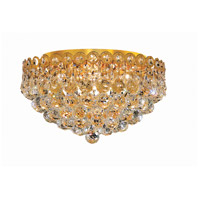 Elegant Lighting Century 4 Light Flush Mount in Gold with Swarovski Strass Clear Crystal 1901F16G/SS