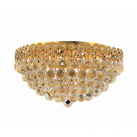Elegant Lighting Century 6 Light Flush Mount in Gold with Swarovski Strass Clear Crystal 1901F18G/SS