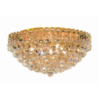 Elegant Lighting Century 9 Light Flush Mount in Gold with Elegant Cut Clear Crystal 1901F20G/EC