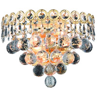 Elegant Lighting Century 2 Light Wall Sconce in Gold with Elegant Cut Clear Crystal 1901W12G/EC