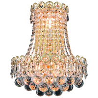 Elegant Lighting Century 3 Light Wall Sconce in Gold with Elegant Cut Clear Crystal 1901W12SG/EC