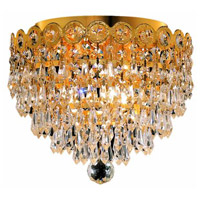 Elegant Lighting Century 3 Light Flush Mount in Gold with Elegant Cut Clear Crystal 1902F10G/EC