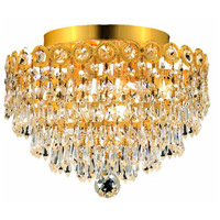 Elegant Lighting Century 4 Light Flush Mount in Gold with Royal Cut Clear Crystal 1902F12G/RC