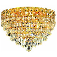 Elegant Lighting Century 4 Light Flush Mount in Gold with Royal Cut Clear Crystal 1902F14G/RC