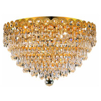 Elegant Lighting Century 4 Light Flush Mount in Gold with Elegant Cut Clear Crystal 1902F16G/EC