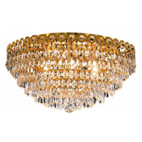 Elegant Lighting Century 6 Light Flush Mount in Gold with Swarovski Strass Clear Crystal 1902F18G/SS