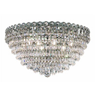 Elegant Lighting Century 9 Light Flush Mount in Chrome with Swarovski Strass Clear Crystal 1902F20C/SS