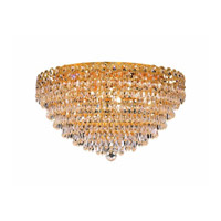 Elegant Lighting Century 9 Light Flush Mount in Gold with Elegant Cut Clear Crystal 1902F20G/EC alternative photo thumbnail