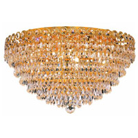 Elegant Lighting Century 9 Light Flush Mount in Gold with Elegant Cut Clear Crystal 1902F20G/EC