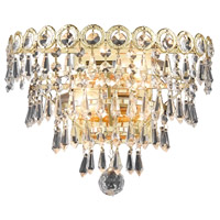 Elegant Lighting Century 2 Light Wall Sconce in Gold with Elegant Cut Clear Crystal 1902W12G/EC