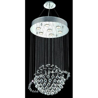Elegant Lighting Galaxy 7 Light Dining Chandelier in Chrome with Elegant Cut Clear Crystal 2004D18C/EC