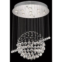 Elegant Lighting Galaxy 7 Light Dining Chandelier in Chrome with Elegant Cut Clear Crystal 2004D26C/EC