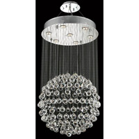 Elegant Lighting Galaxy 7 Light Dining Chandelier in Chrome with Elegant Cut Clear Crystal 2005D20C/EC