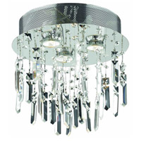 Galaxy 3 Light 13 inch Silver and Clear Mirror Flush Mount Ceiling Light in Royal Cut