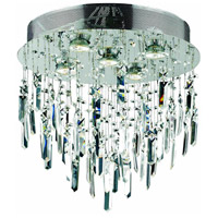 Galaxy 5 Light 16 inch Silver and Clear Mirror Flush Mount Ceiling Light in Royal Cut