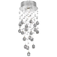 Elegant Lighting Galaxy 1 Light Flush Mount in Chrome with Swarovski Strass Clear Crystal 2006F8C/SS