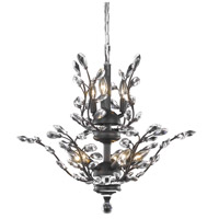 Elegant Lighting Orchid 8 Light Dining Chandelier in Dark Bronze with Swarovski Strass Clear Crystal 2011D21DB/SS