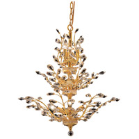 Elegant Lighting Orchid 13 Light Dining Chandelier in Gold with Swarovski Strass Clear Crystal 2011D27G/SS
