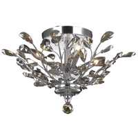 Elegant Lighting Orchid 4 Light Flush Mount in Chrome with Royal Cut Golden Teak Crystal 2011F20C-GT/RC