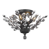 Elegant Lighting Orchid 4 Light Flush Mount in Dark Bronze with Swarovski Strass Clear Crystal 2011F20DB/SS