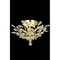 Elegant Lighting Orchid 4 Light Flush Mount in Gold with Royal Cut Golden Shadow Crystal 2011F20G-GS/RC