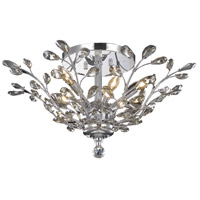 Orchid 6 Light 27 inch Chrome Flush Mount Ceiling Light in Golden Teak, Royal Cut