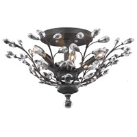 Elegant Lighting Orchid 6 Light Flush Mount in Dark Bronze with Elegant Cut Clear Crystal 2011F27DB/EC