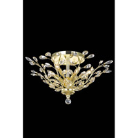 Elegant Lighting Orchid 6 Light Flush Mount in Gold with Royal Cut Golden Shadow Crystal 2011F27G-GS/RC