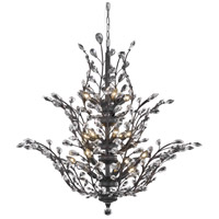 Elegant Lighting Orchid 18 Light Foyer in Dark Bronze with Elegant Cut Clear Crystal 2011G41DB/EC
