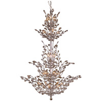 Elegant Lighting Orchid 25 Light Foyer in Chrome with Royal Cut Golden Teak Crystal 2011G54C-GT/RC