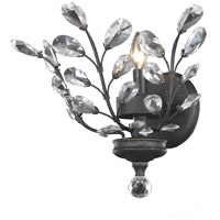 Elegant Lighting Orchid 1 Light Wall Sconce in Dark Bronze with Royal Cut Clear Crystal 2011W16DB/RC