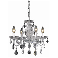 Elegant Lighting St. Francis 4 Light Dining Chandelier in Chrome with Elegant Cut Clear Crystal 2015D17C/EC