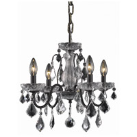 Elegant Lighting St. Francis 4 Light Dining Chandelier in Dark Bronze with Swarovski Strass Clear Crystal 2015D17DB/SS