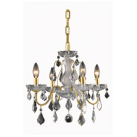 Elegant Lighting St. Francis 4 Light Dining Chandelier in Gold with Swarovski Strass Clear Crystal 2015D17G/SS