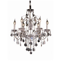 Elegant Lighting St. Francis 6 Light Dining Chandelier in Chrome with Elegant Cut Clear Crystal 2015D24C/EC
