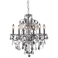 Elegant Lighting St. Francis 6 Light Dining Chandelier in Dark Bronze with Elegant Cut Clear Crystal 2015D24DB/EC