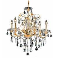 Elegant Lighting St. Francis 6 Light Dining Chandelier in Gold with Elegant Cut Clear Crystal 2015D24G/EC