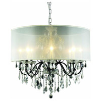 St. Francis 8 Light 26 inch Dark Bronze Dining Chandelier Ceiling Light in Clear, Royal Cut, Silver Shade